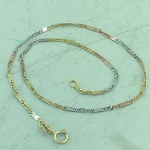 Ladies14k Italian Tri-Color Dainty Gold Anklet